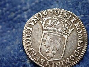 France-1660-A-Paris-Excellent-Etat-Louis-Xiiii-Argent-1-12-ECU-Extremement-Fin