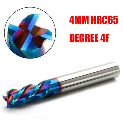 Blue Tungsten Carbide Nano Coating End Mill 4 Flute HRC65 Milling Cutter Tool