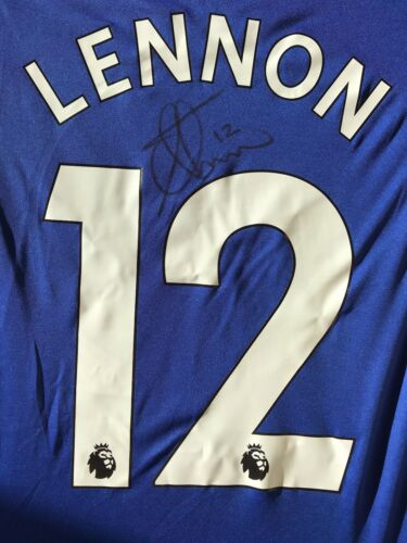 AARON LENNON HAND SIGNED EVERTON SHIRT 201718 PROOF 1.