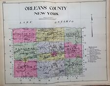 1912 ORLEANS COUNTY NEW CENTURY ATLAS MAP COUNTIES OF THE STATE OF NY 24X30