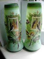 Victorian enamelled swallow birds opalescent green glass vases Bohemian C1890