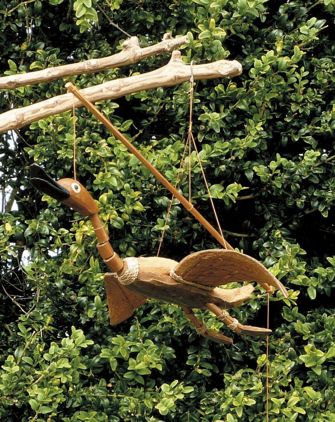 Flying Duck Bamboo Coconut Garden Ornament Hanging Bobbing Head Fair Trade