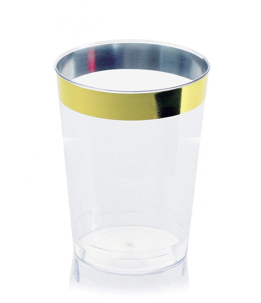 OCCASIONS Wedding Disposable Plastic Tumbler Cups (Gold Rimmed, 10 oz...