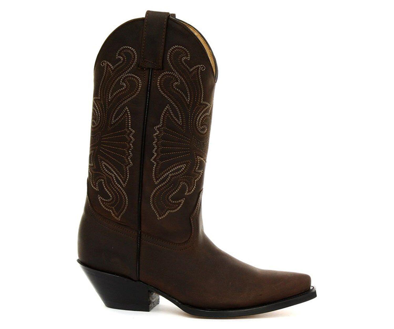 Molinillos para hombre de cuero marrón de búfalo Hecho a Mano Antideslizante en botas de vaquero occidental Biker