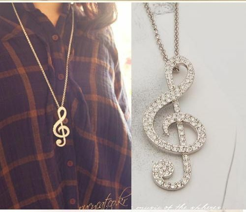2014 Women Rhythm Pendants Music Note Crystal Long Sweater Charm Alloy Necklace