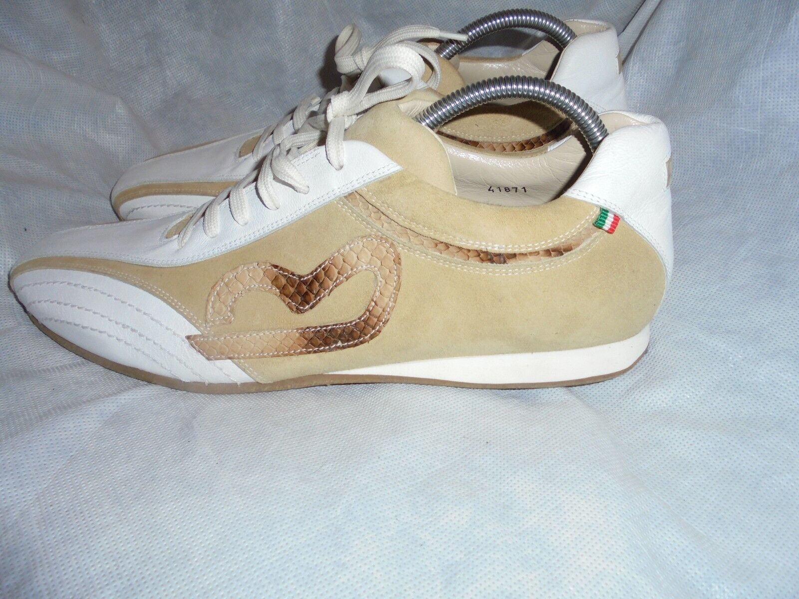 MARIO BRUNI MEN Weiß/BEIGE LEATHER LACE UP TRAINERS 43 SIZE UK 9 EU 43 TRAINERS VGC cdc954