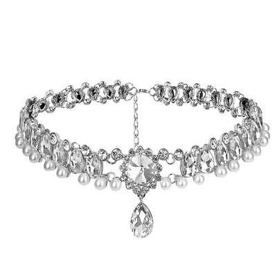 Women Crystal Choker Fashion Chunky Jewelry Statement Chain Pendant Bib Necklace