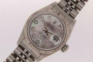 Ladies-Rolex-Datejust-Automatic-Stainless-Steel-Watch-Diamond-Pearl-Dial