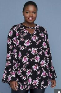 New-Lane-Bryant-Womans-Floral-Tunic-Sz-14-18-20-Long-Bell-Sleeve-NWT