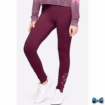 Justice Girls Size 18 Plus Mesh Lattice Leggings in Burgundy New with Tags