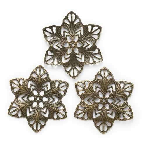 Bronze Tone Hollow Filigree Flower Wraps Connnector Embellishments Findings 57mm