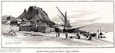 ROCCELLA IONICA. Costa dei Gelsomini.Amfissa.Reggio Calabria. Stampa Antica.1880