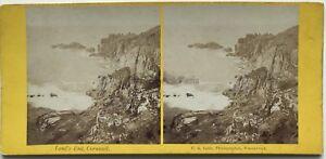 Land 'S End Cornwall C. R. Lobb UK Foto Stereo Vintage Albumina