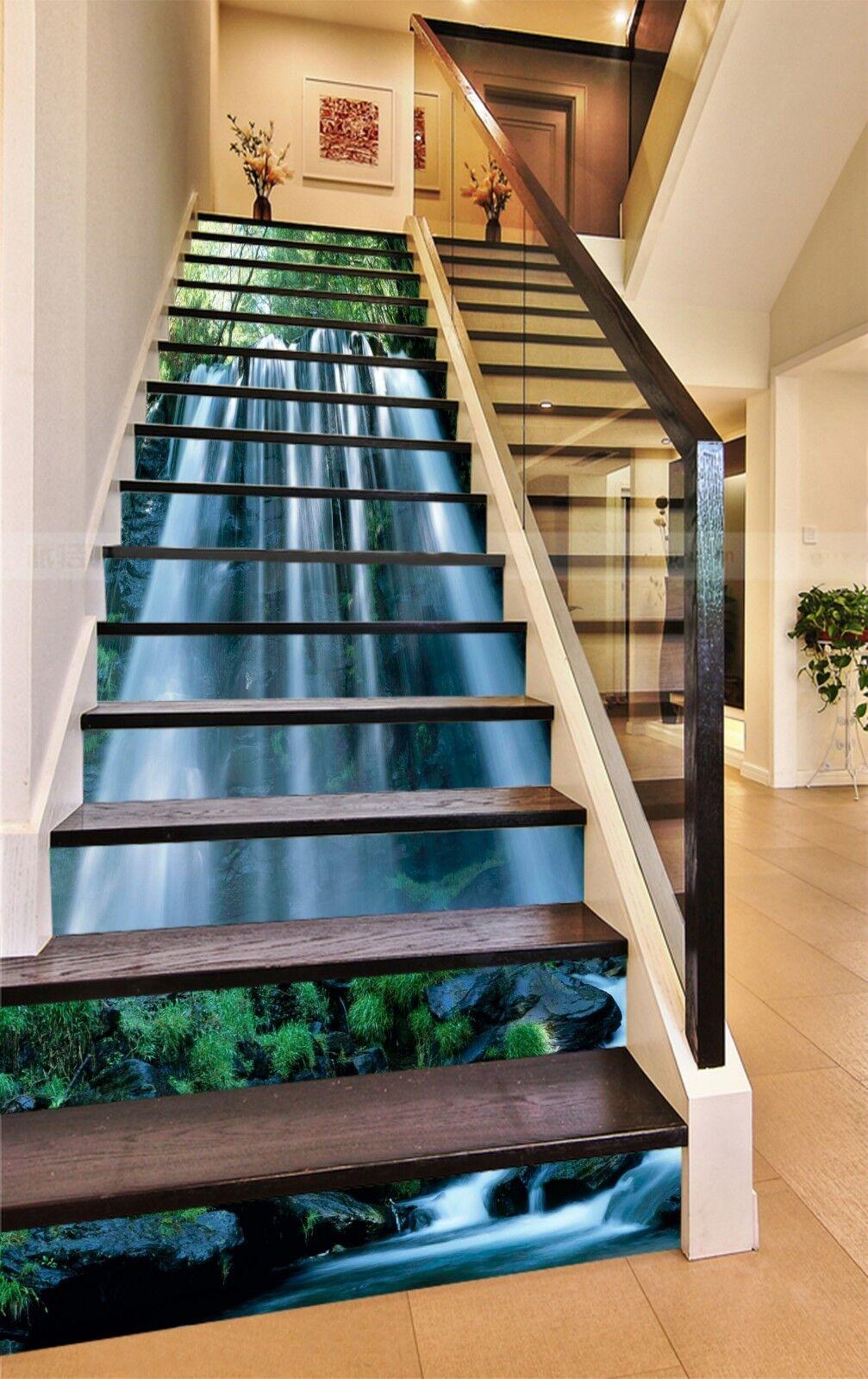 3D Waterfall Sun 3 Stair Risers Decoration Photo Mural Vinyl Decal Wallpaper CA