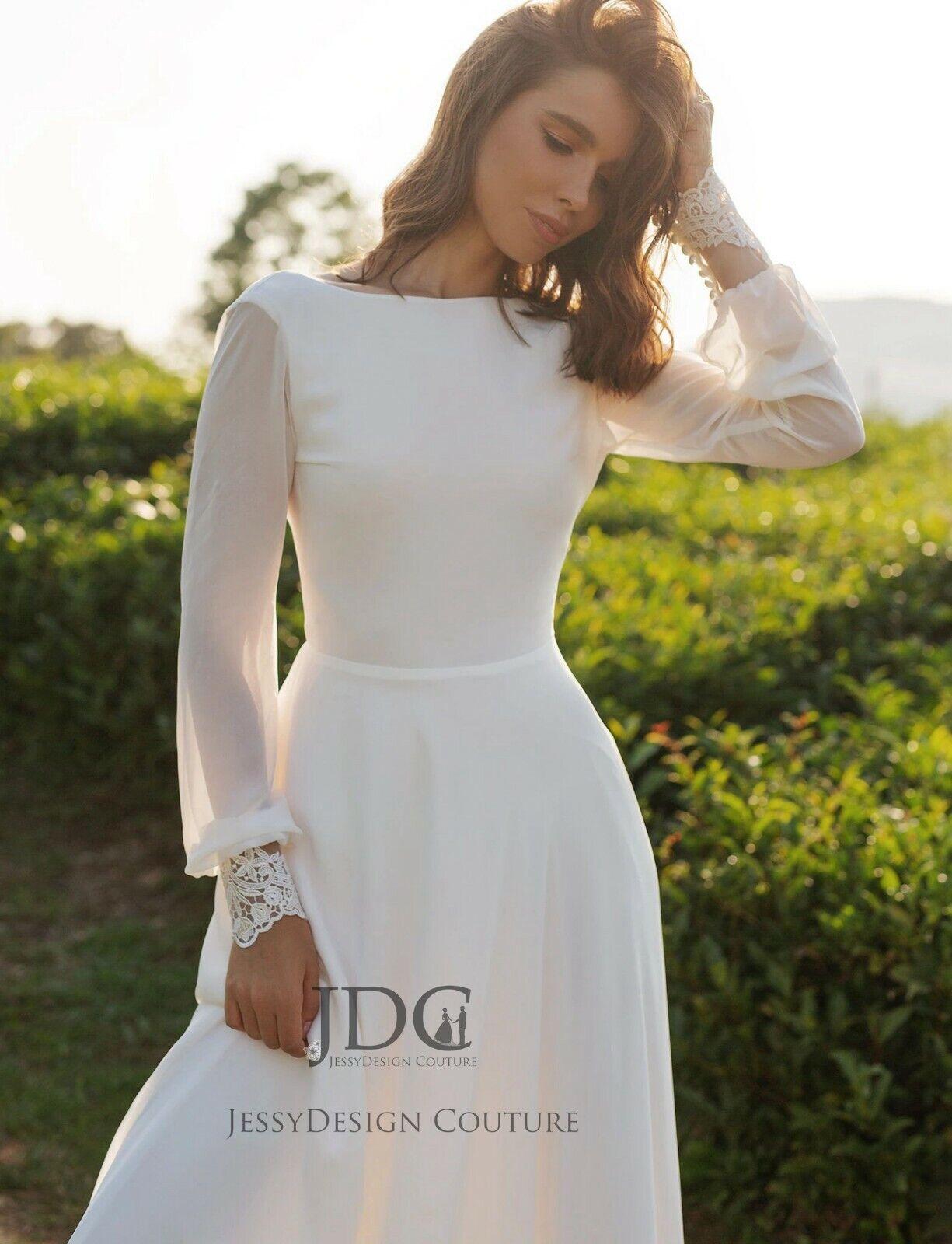 Modest Vintage Chiffon sleeve Bridal dress backless Wedding Dress Custom made
