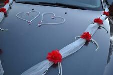 wedding car decoration, ribbon,ivory/red garland,prom limusine decoration,venue,