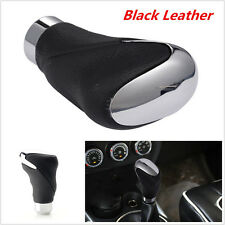 Black Leather Metal Chrome Car Shifter Gear Stick Knob Head Manual and Automatic
