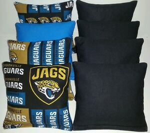 8 Cornhole Bean Bags made w JACKSONVILLE JAGUARS fabric ACA Regulation Toss Game