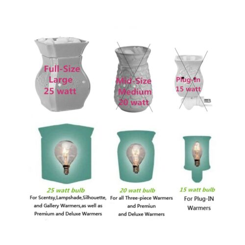 25 Watt Wax Melt Warmer Light Bulb for Full-Size Scentsy Warmers /& Candle Wax...