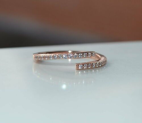 Sterling Silver 925 Rose Gold Plated Diamante 2 Row Open Ring Size N Adjustable
