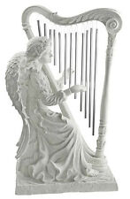 Musical Angel with Harp Garden Sculpture for Home or Garden