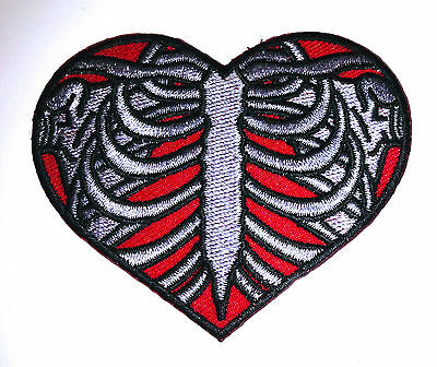 Real Ribcage Heart embroidered iron on patch tattoo rockabilly punk applique-10a
