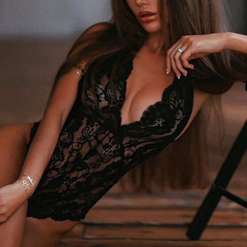 Details about  /Sexy Lingerie Women Lace Sleeveless V-neck Solid Color Babydoll Nightdress MP
