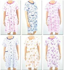 Women Floral Button Down House Shift Dress Sleep Lounge Wear Reg