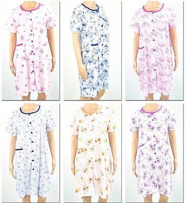 WOMEN FLORAL BUTTON DOWN HOUSE SHIFT DRESS SLEEP LOUNGE WEAR REG PLUS SIZE L-3XL