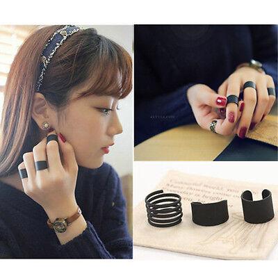 3 PCS/SET Fashion Ring Black Stack Plain Above Knuckle Ring Band Midi Rings