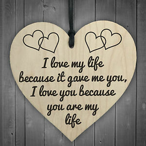 I Love You You Are My Life Wooden Hanging Heart Anniversary