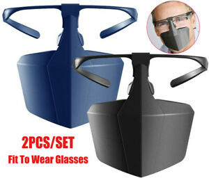 NEW-2X-Set-Face-Mouth-Shield-Protection-Glasses-Wearable-Anti-Saliva-Dust-Proof