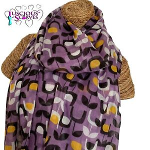 PURPLE-YELLOW-BLACK-WHITE-SCARF-WITH-A-BLOCK-FLORAL-DESIGN-LADIES-SUPERB-QUALITY