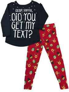f98bb317d264 Girls Dear Santa Pajamas Reindeer Emoji Face Christmas Holiday 2 Pc ...