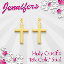 Gold Cross Earrings Stud 18ct* Christian Holy Crucifix Studs Earring Jewelley