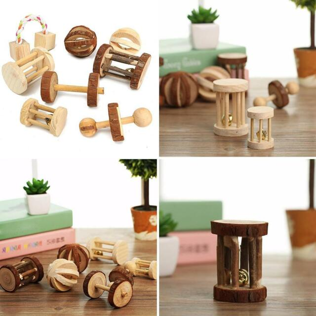 NATURAL WOOD DUMBELLS UNICYCLE BELL ROLLER CHEW TOY FOR GUINEA PIGS RAT GLARING