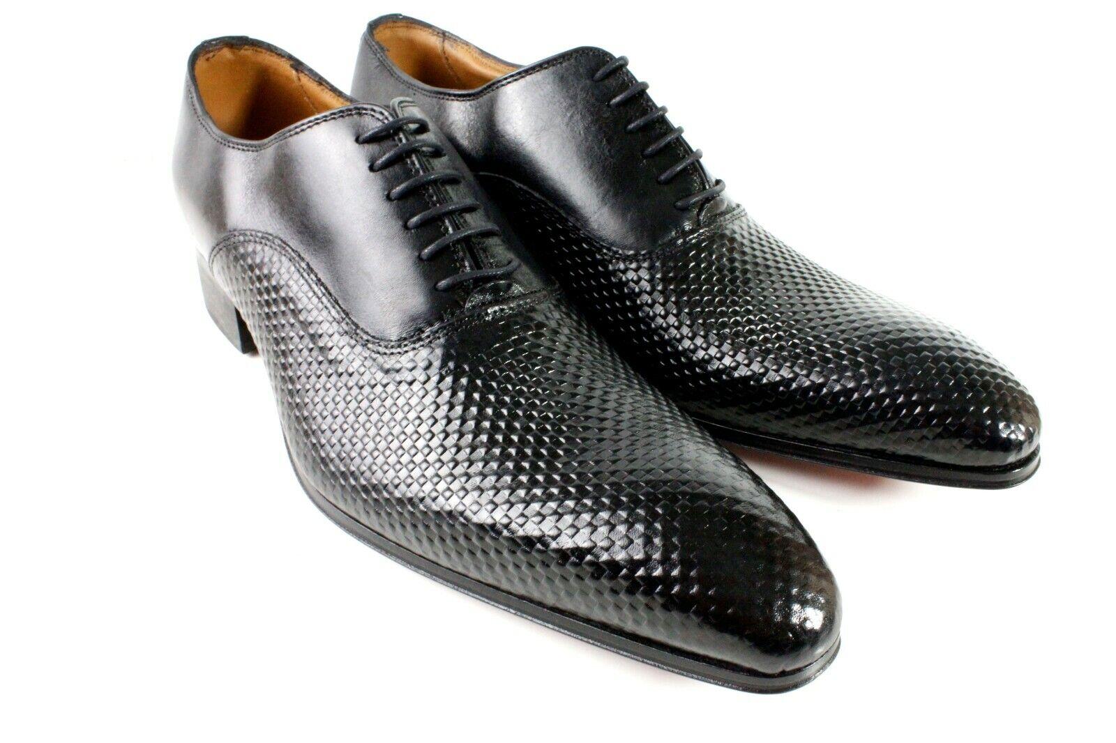 Zapatos De Vestir Negro De Cuero Italiano para hombres hecho a mano Zapatos Oxford, tamaño 42