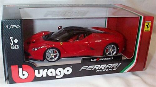 Ferrari Laferrari in Red Black roof 1:24 Scale Diecast  burago New Boxed 26001