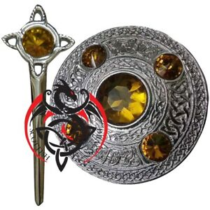 Bien Informé Fly Plaid Broche Jaune Pierre Finition Chrome Écossais Kilt Pin Celtic Knot Silver-afficher Le Titre D'origine