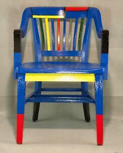 Sensational Details About Antique Vintage Painted Oak Lawyer Banker Desk Office Chair Mondrian Style Paint Lamtechconsult Wood Chair Design Ideas Lamtechconsultcom