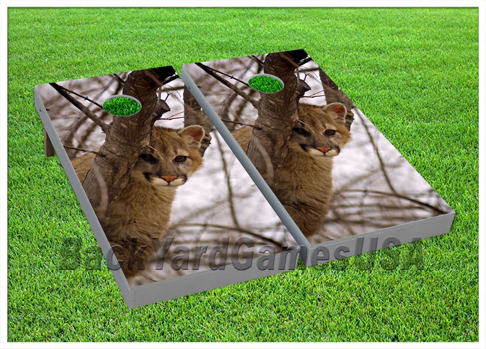 VINYL WRAPS CORNHOLE BEANBAG Board DECALS  Puma in Deep Snow Forest Set 895  inexpensive