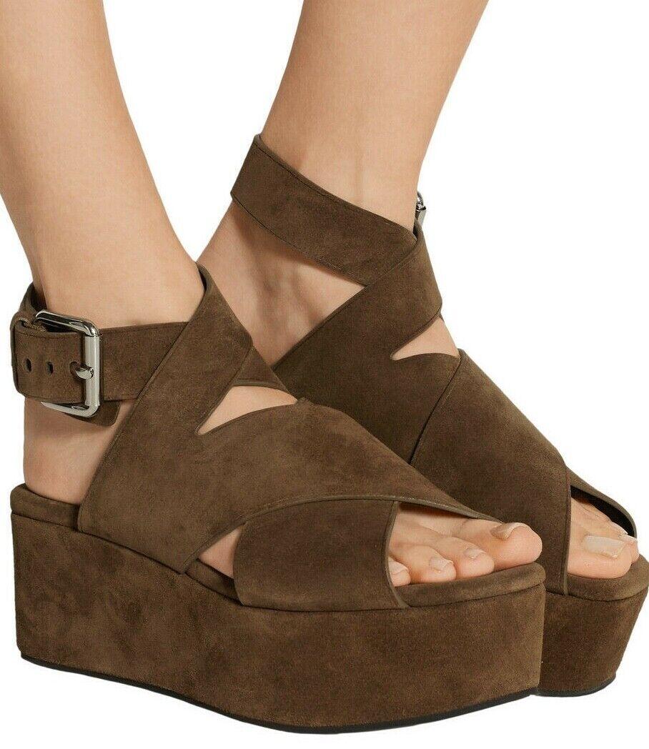 Alexander Wang  595 Rudy Suede Ankle Strap Platform Sandals Dark Truffle 6   36