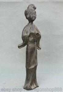 """15 """"Palais Chinois De La Dynastie En Bronze Stand Beautés Femme Statue Sculpture"""