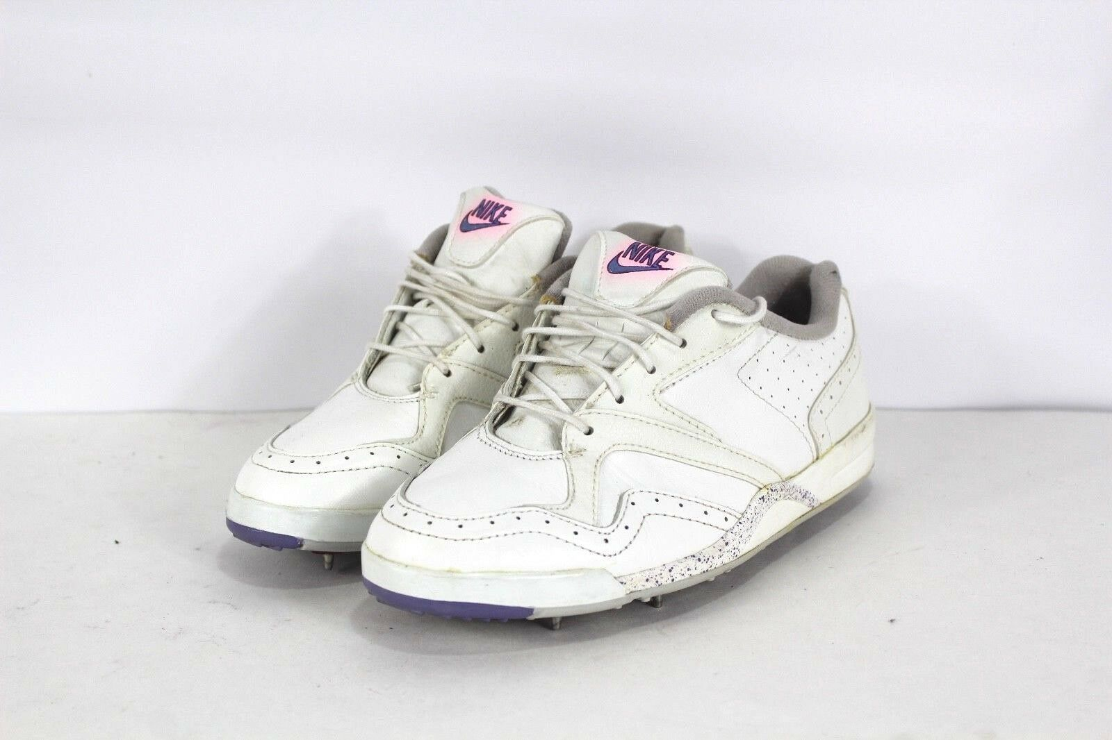 Vintage 90s NIKE Womens Size 8 Mens 6.5 Speckled Leather Golf Shoes White Purple
