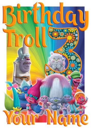 Troll Compleanno Personalizzata T-shirt Adesivo /& Frigo Calamita Combo