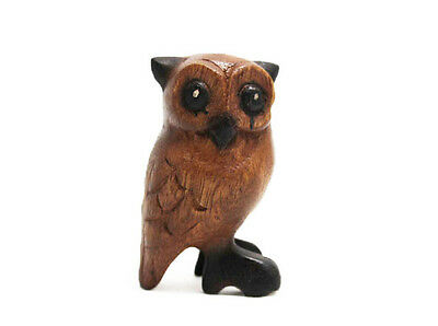 """Small Wooden Owl 3.5"""" tall, Home & Office Decor, Hand Carved Cute Bird - NEW, SM"""