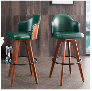 Details About Set Of 2 Mid Century Bamboo Green Bar Stool Swivel Leather Padded Seat Kitchen