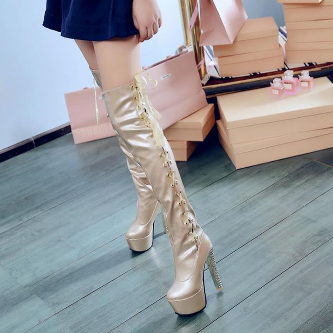Womens lady Stripper Dancer Platform shoes Over Knee Thigh High club Boots