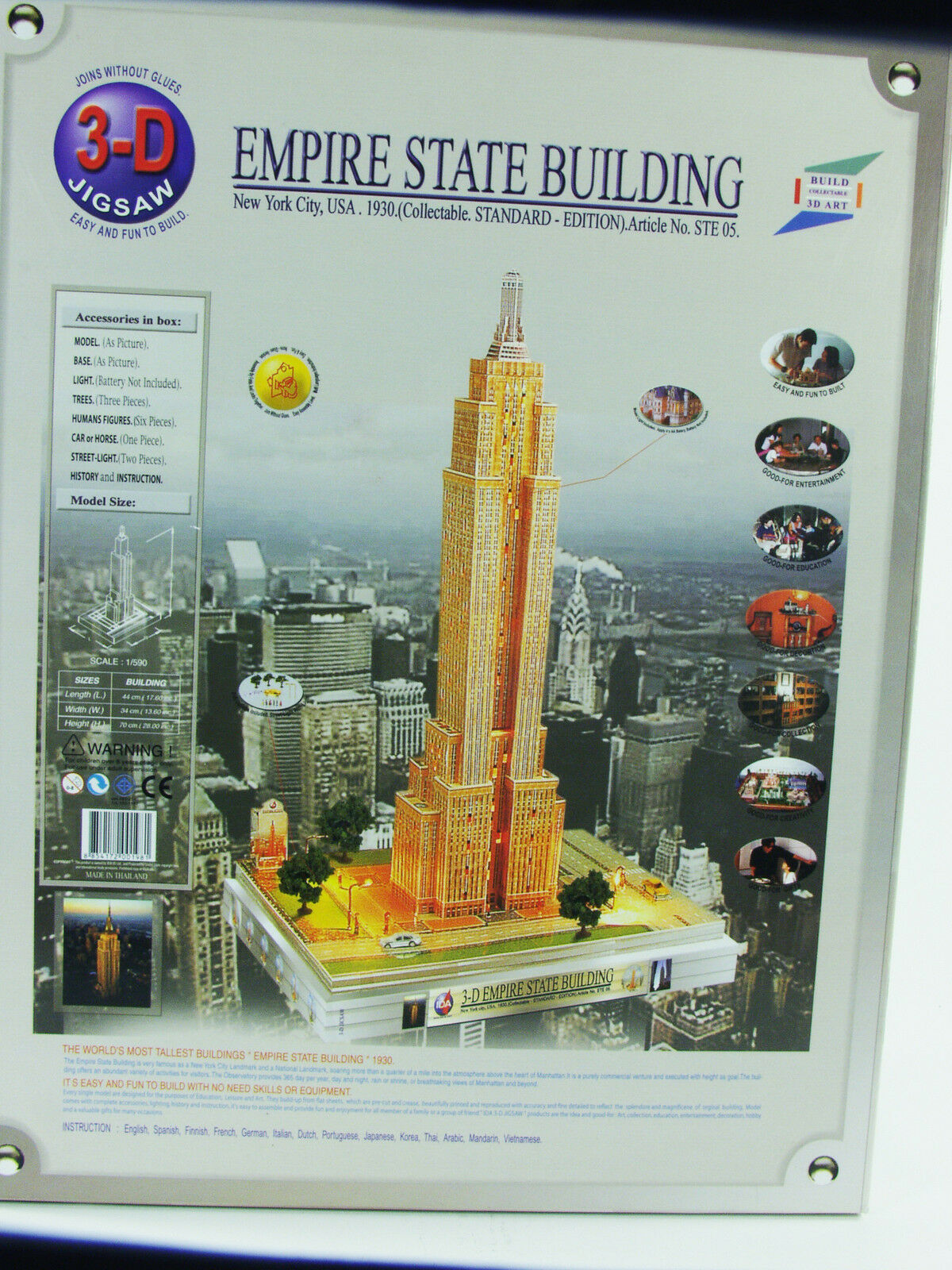 IDA IDA IDA 3-D Jigsaw - Empire State Building  Kit - Lighted - NOS 73a670