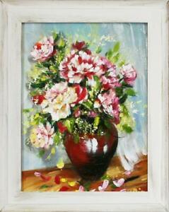FidèLe Roses Fleurs Peinture à L'huile Tableau Ölbild Cadre Photo G03418 Couleurs Harmonieuses